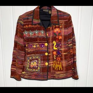 Julia Ken Multicolor Embroidered Blazer Jacket L